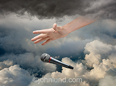 The last word in spirituality...God drops the mic in this humorous stock photo about spirituality and religious issues.