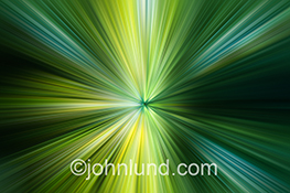 Green lights zoom towards the viewer in a stock photo about speed, energy and the rapid move towards environmental friendly business.