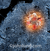 Terrorism, bombings and explosions are all demonstrated in this stock photo of an explosion seen as if from a satellite or aerial view from above over a densely  populated urban setting.