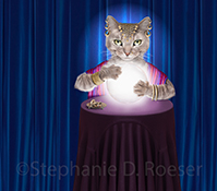 A birthday message from a gypsy fortune teller cat holding her paws over a crystal ball...you will have a happy birthday!
