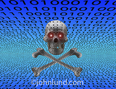 Cybercrime and hacking are the concepts illustrated in this stock photo featuring a skull and crossbones with glowing eyes over a blue background filled with zooming binary numbers.
