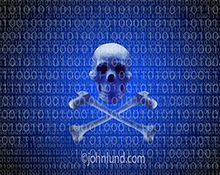 A skull and crossbones floats on a background of binary numbers in a stock photo about computer hackers, cyber crime, cyber warfare, and other online networking and computer threats.
