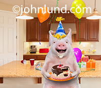 A happy pig, his face smeared with frosting, holds a partially eaten birthday cake in his hands and wears a party hat in this humorous greeting and birthday photo ready for whatever clever caption you might want!