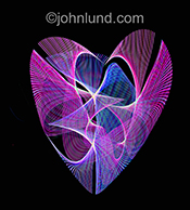 A heart is composed of colored light trails in a stock photo about energy, heart, love and romance.
