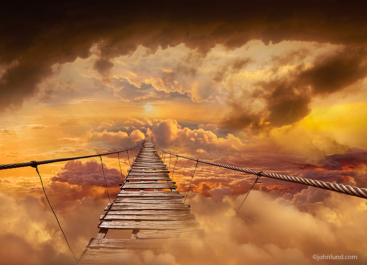 """Bridge To The Heavens"" might be an apt title for this amazing and vibrant photo of a well-worn footbridge leading off into the clouds in a high-altitude cloudscape in a visual metaphor for everything from the challenges of cloud computing to the pious pa"