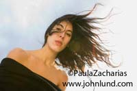 Beautiful Hispanic or Mexican woman looking straight down at the camera with her long hair blowing in the breeze and the sky in the background. Lovely bare-shouldered young Mexican woman picture for ads.