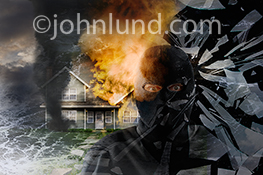 Home security is the subject of this image that combines a menacing figure in a ski mask, broken window glass, flood waters, a tornado and the raging flames of a house fire.