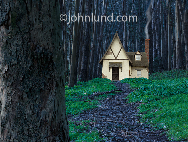 Fairy Tale House In The Dark And Scary Woods