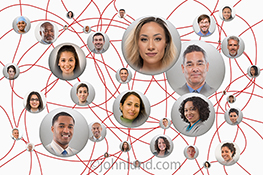 Connected social networking is illustrated in this stock photo of people pictures connected via undulating red lines on a clean white background.