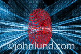 A red fingerprint is positioned over binary numbers and streaking light trails in a stock photo about Internet and network security, firewalls, and IP protection.