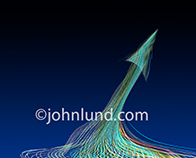 Multi-colored light trails from an upwards arrow stock photo showing growth, potential and success.