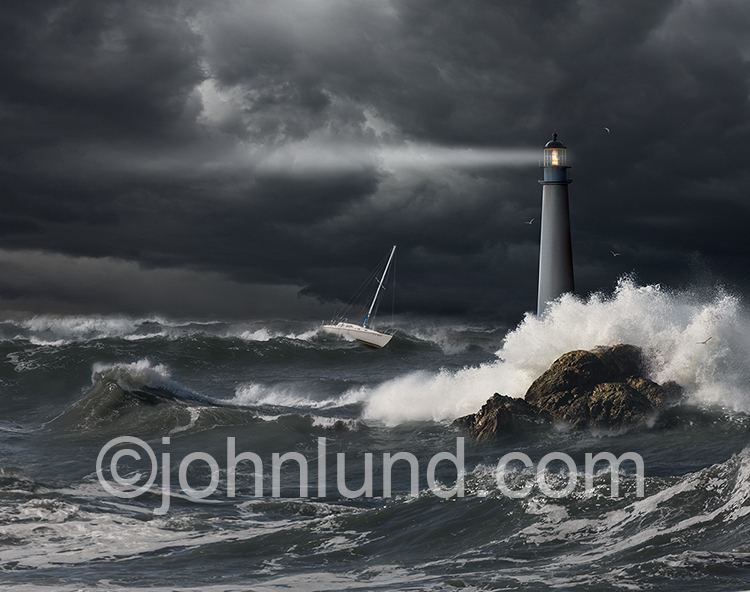 A small sailboat braves rough seas beyond a lighthouse against dark storm clouds in a stock photo about risk, danger, navigation and guidance.