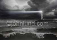 A Lightouse photo with a beam of light shining out over rough seas, for use as a bacground pic.