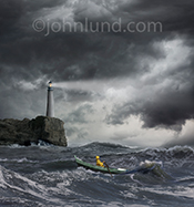 Photo of a lighthouse in an ocean storm with a man in a rowboat navigating rough seas in the foreground.