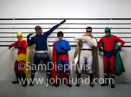 & Silly Super Heros In Costumes In a Police Line Up
