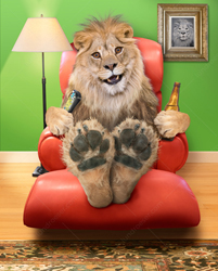 A lion sits in an easy chair with a television remote and a bear in a funny greeting card image and stock photo.