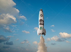A rocket of US dollars blasts off to show investment success and markets rising to ever greater heights in a stock photo about financial achievement.