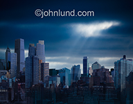 This image of a blue city was created as a business image meant to portray an unnamed metropolis, a generic city for graphic, advertising and editorial uses.