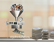 A mass of social media portraits drop into a funnel and come out as hundred dollar bills in this photo depicting the monetization of social media and networking.