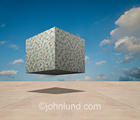 A huge floating cube of money hovers over a vast empty expanse of concrete in a stock photo about finance, investment, capital and savings.