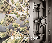Money flows in or out of a bank vault in a stock photo about finance, investment, savings, banking and finance with ancillary concepts of security, abundance and scarcity.