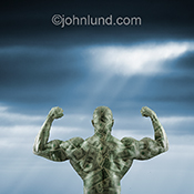 A body builder covered in money represents the power of money in a unique and striking stock photo about finance, investment, and savings success.