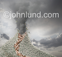 A volcano, made of money, spews out smoke, dollars and coins while a lava flow of coins runs down the the volano's flank.