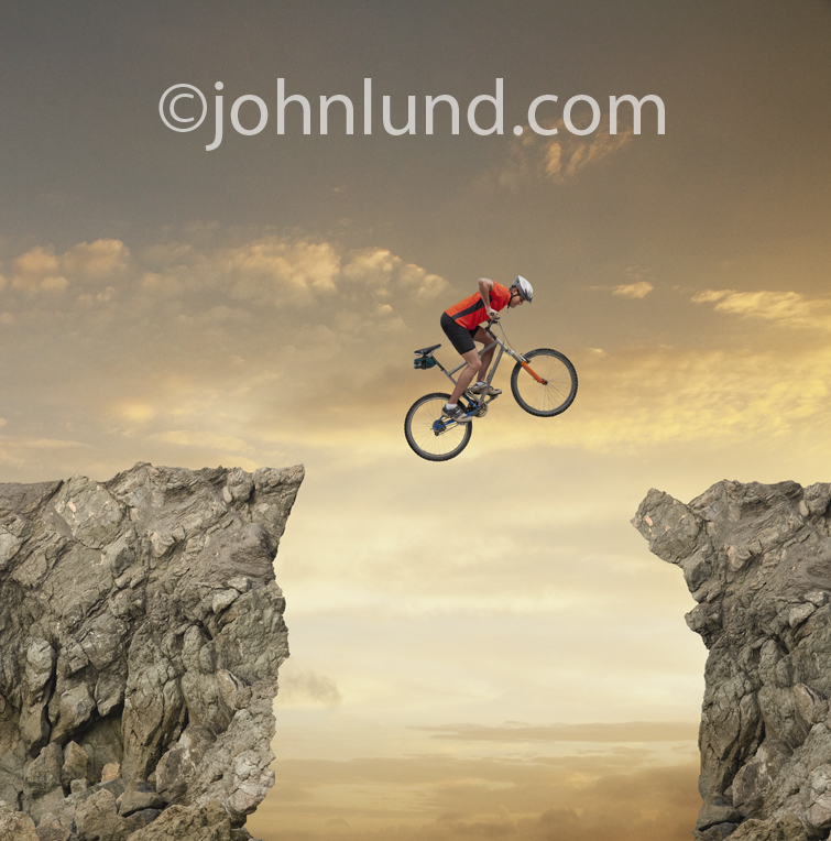 Mountain Bike Cliff Jumping Stunt