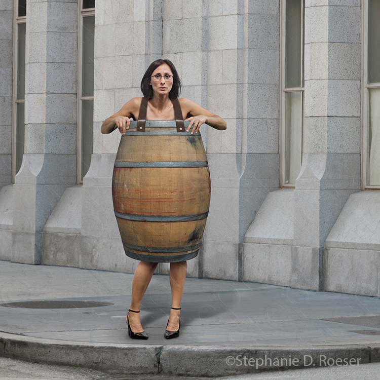 A woman stands on a street corner wearing only a barrel indicating financial distress.