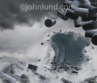 In this picture the sea is filled with oil barrels tumbling over the top of a tidal wave or tsunami illustrating the dangers of offshore drilling, oil transporation and ecological disasters associated with fossil fuels.