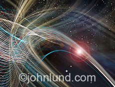 Dynamic colorful streaks of light gracefully arc across the frame in an intricate pattern showing communications technology and connections transversing outer space in a innovative stock photo.
