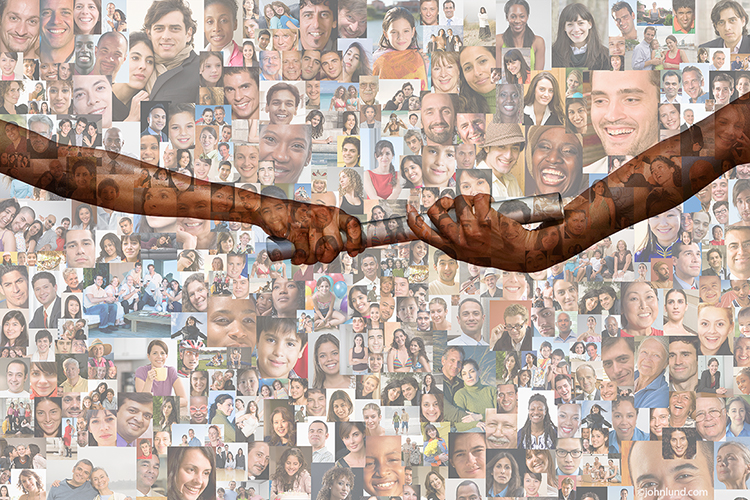 A pair of hands pass a baton with a background composed of over a hundred individual portraits creating a social media image that speaks of teamwork in the social networking arena.