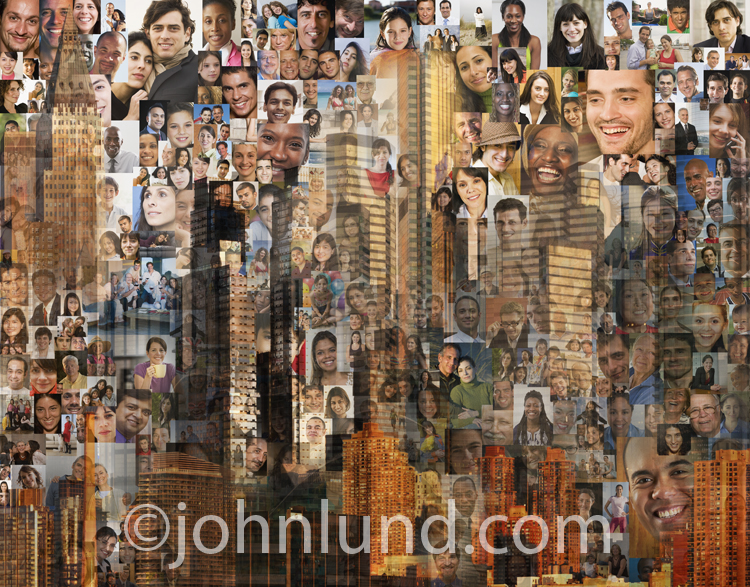 Hundreds of people's portraits are combined with urban landscape photos in this mosaic depicting one world.