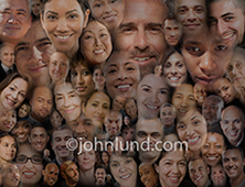 In this social media montage a large group of people's portraits are composited together to symbolize a