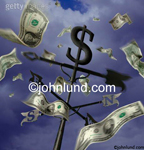 Picture of dollars flying around a weather vane. The camera is looking up at the weater vane and the sky is filled with swirling money.  Dark purple sky and US dollar bills floating down.