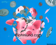 Picture of an exploding piggy bank with coins flying out of a shattering pink pig in a visual about savings and investment.