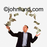 Picture of money flowing out of a man's cell phone for use as a stock photo. White background, hispanic man, and man has a cell phone in his hand.