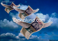 Stock photo picture of Italian lira flying through the sky with a cloudy background.
