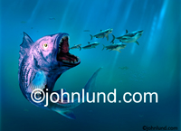 Stock shot of a huge fish about to eat a school of sharks deep in the ocean; This fish is turning the tables on the predators. It is of course, a picture of a mythical fish.