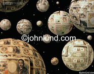 Stock picture of spheres of  world money in space. Each planet is made of different kinds of currencies with many planets in the background. The photo is on a starfield.
