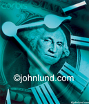Picture of a clock superimposed over a dollar bill centered on George Washingtons face. Roman numerals for the time. Money related photography and pictures.