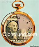 Stock photo of an Antique Time piece with a picture of George Washington as printed on a US dollar bill merged into the face representing the cliche Time Is Money