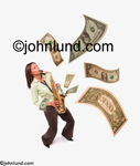 An African American woman plays the saxaphone sending money flying out of the instrument and filling the room with flying money. White background.