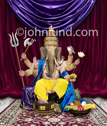 Picture of Ganesh, a Hindu God with an elephant's head and his many symbols. He is also known as the remover of all obstacles.
