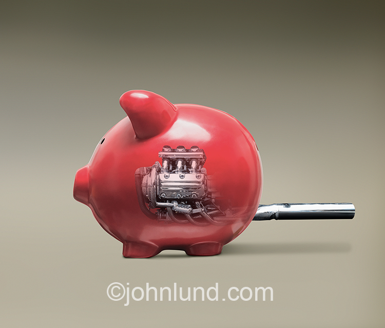 High powered savings, fast investment growth, and market speed are represented in this stock image of a piggy bank sporting a powerful engine.