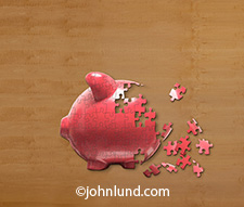 A pink piggy bank puzzle is partially completed in this image about financial challenges, strategies and opportunities.