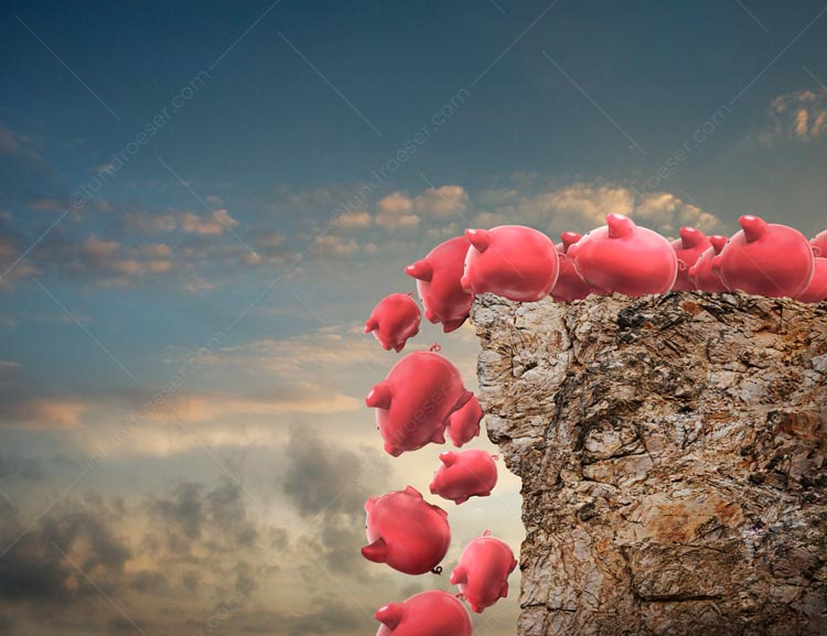 A passel of piggy banks jump off a financial cliff in a lemming-like rush in a stock photo about investment panic and group financial thinking.