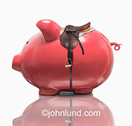 This unique and fresh piggy bank image shows a traditional pink piggy bank wearing a saddle in a metaphor for managed investing as well as the unpredictable nature of investment markets.