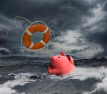 A piggy bank flounders in an ocean storm while a life ring sails out towards it in a potential rescue.