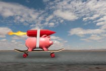 This rocket powered piggy bank addresses the ideas of boosted savings and successful investing.